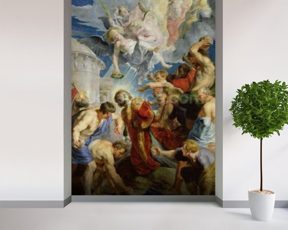 The Stoning of St. Stephen, from the Triptych of St. Stephen (oil on panel) mural wallpaper room setting