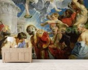 The Stoning of St. Stephen, from the Triptych of St. Stephen (oil on panel) mural wallpaper living room preview