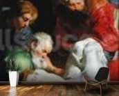 The Entombment of St. Stephen, from the Triptych of St. Stephen (oil on panel) wall mural kitchen preview