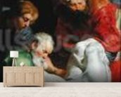 The Entombment of St. Stephen, from the Triptych of St. Stephen (oil on panel) wall mural living room preview