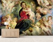 The Virgin and Child surrounded by the Holy Innocents or, The Virgin with Angels, 1618 (oil on canvas) mural wallpaper living room preview