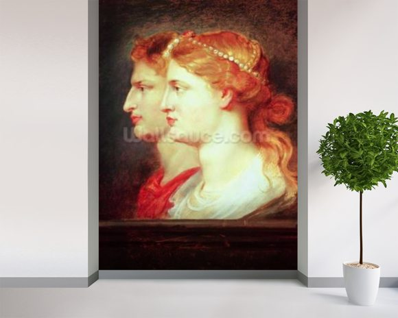 Tiberius (42BC-37AD) and Agrippina, c.1614 (oil on panel) wall mural room setting