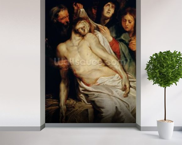 Triptych of Christ on the Straw, centre panel depicting the Lamentation of Christ, c.1618 (oil on panel) mural wallpaper room setting