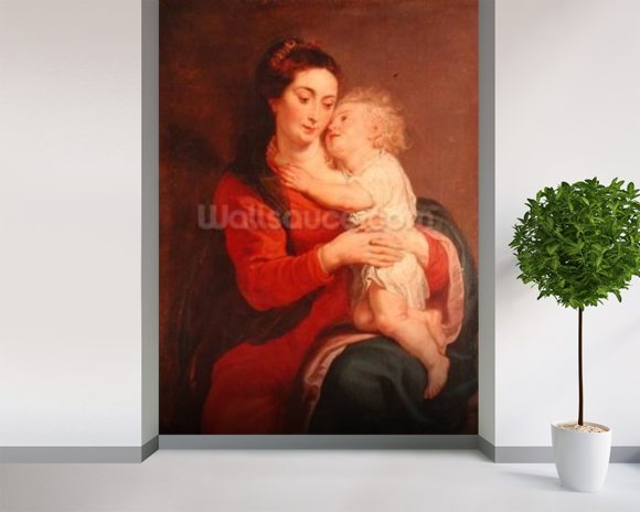 Virgin with Child (oil on canvas) wallpaper mural room setting