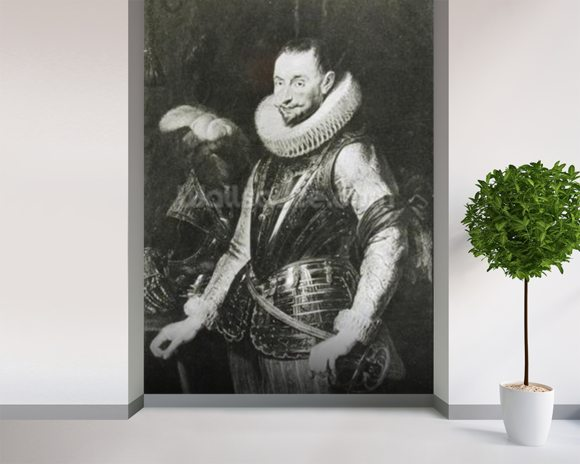 Portrait of Marquis Ambrogio Spinola (1569-1630) (oil on panel) (b/w photo) wallpaper mural room setting