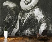 Portrait of Marquis Ambrogio Spinola (1569-1630) (oil on panel) (b/w photo) wallpaper mural kitchen preview