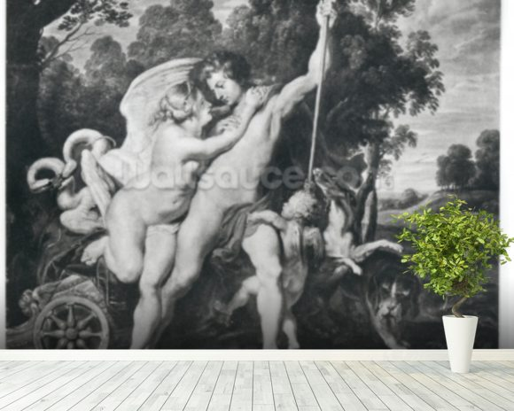 Venus and Adonis (oil on canvas) (b/w photo) mural wallpaper room setting