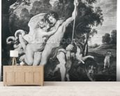Venus and Adonis (oil on canvas) (b/w photo) mural wallpaper living room preview