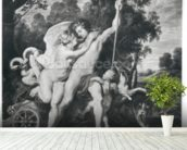 Venus and Adonis (oil on canvas) (b/w photo) mural wallpaper in-room view
