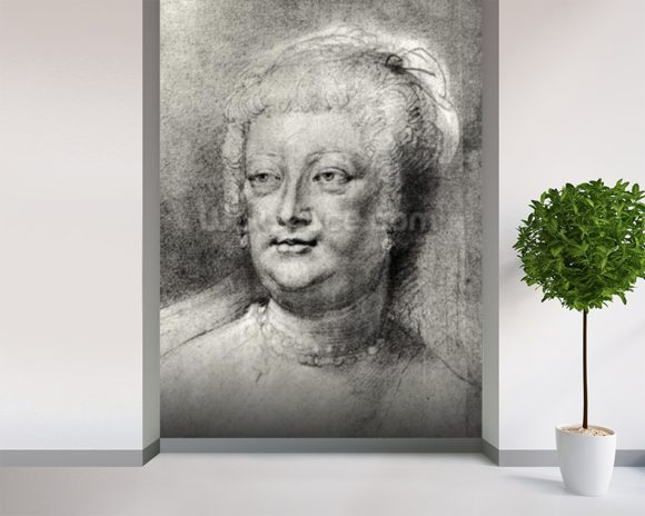 Portrait of Marie de Medici (1573-1642), 1622 ? (pierre noire and red chalk with white highlight) wall mural room setting