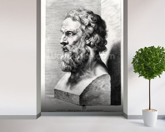Bust of Plato (c.427-c.348 BC) engraved by Lucas Emil Vorsterman (1595-1675) (engraving) (b/w photo) mural wallpaper room setting