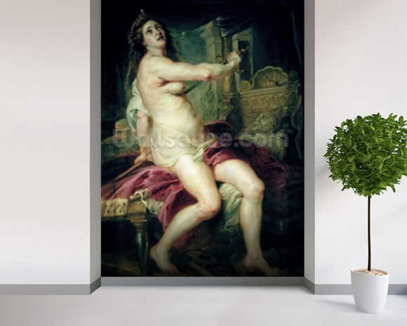 The Death of Dido (oil on canvas) mural wallpaper room setting