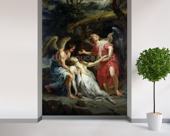 Ecstasy of Mary Magdalene, c.1619-20 (oil on canvas) wall mural room setting