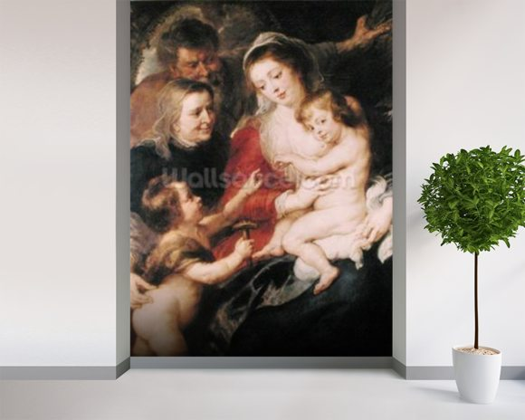 The Holy Family with St. Elizabeth and the Infant St. John the Baptist, c.1634 (oil on canvas) wall mural room setting