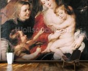 The Holy Family with St. Elizabeth and the Infant St. John the Baptist, c.1634 (oil on canvas) wall mural kitchen preview