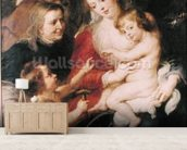 The Holy Family with St. Elizabeth and the Infant St. John the Baptist, c.1634 (oil on canvas) wall mural living room preview