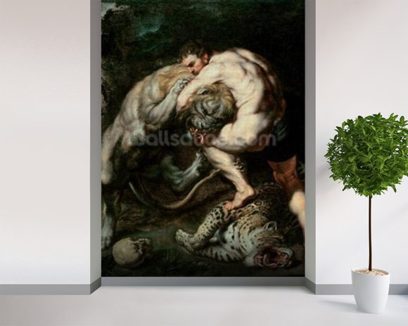 Hercules Fighting the Nemean Lion (oil on canvas) mural wallpaper room setting