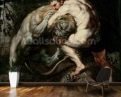 Hercules Fighting the Nemean Lion (oil on canvas) mural wallpaper kitchen preview