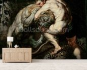 Hercules Fighting the Nemean Lion (oil on canvas) mural wallpaper living room preview