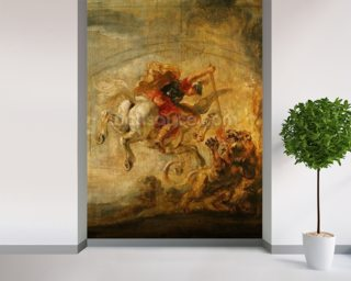 Bellerophon Riding Pegasus Fighting the Chimaera, 1635 (oil on panel) wallpaper mural