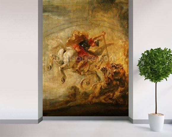 Bellerophon Riding Pegasus Fighting the Chimaera, 1635 (oil on panel) wallpaper mural room setting