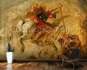 Bellerophon Riding Pegasus Fighting the Chimaera, 1635 (oil on panel) wallpaper mural kitchen preview