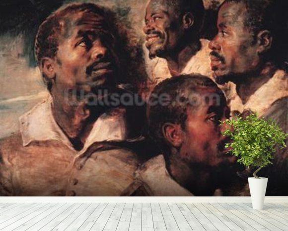Studies of the Head of a Negro (oil on canvas) mural wallpaper room setting