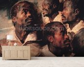 Studies of the Head of a Negro (oil on canvas) mural wallpaper living room preview