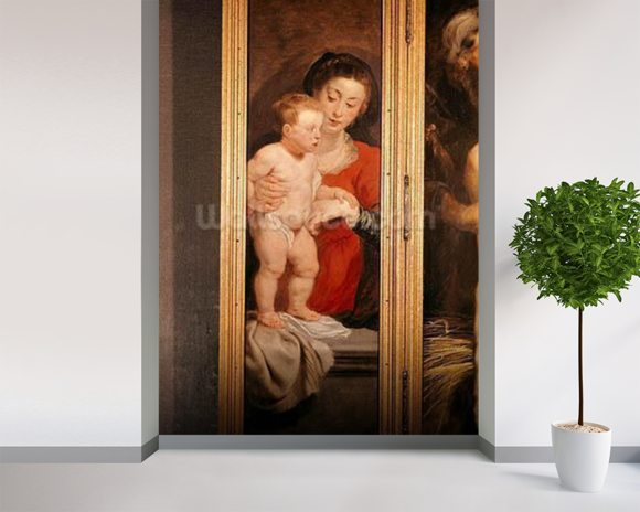 Triptych of Christ in the Straw, left hand panel depicting the Virgin and Child, c.1618 (oil on panel) wall mural room setting