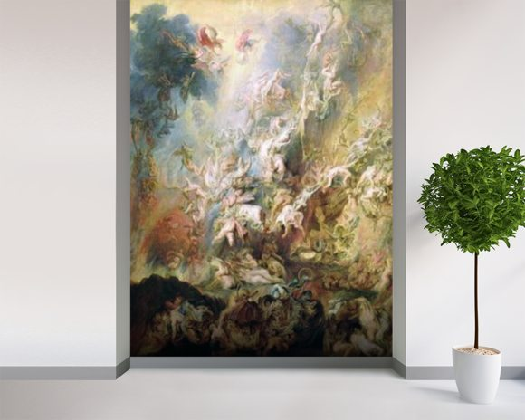 The Fall of the Damned (oil on panel) mural wallpaper room setting