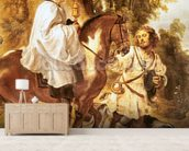 Priest carrying the eucharist to a dying person, before 1630 (oil on canvas) wall mural living room preview