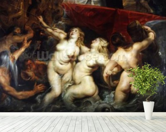 Detail of the Sirens from The Arrival of Marie de Medici in Marseilles, 3rd November 1600, 1621-25 (oil on canvas) (see 2995) wallpaper mural room setting