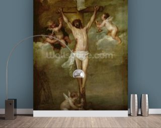 Christ attended by angels holding chalices (oil on canvas) wall mural
