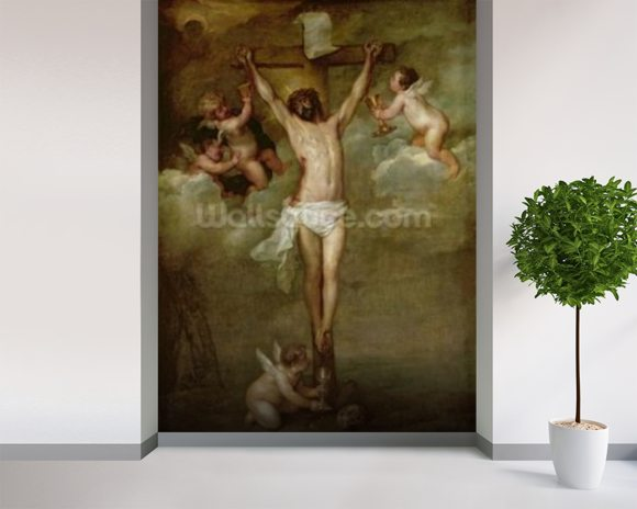 Christ attended by angels holding chalices (oil on canvas) wall mural room setting