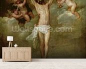 Christ attended by angels holding chalices (oil on canvas) wall mural living room preview