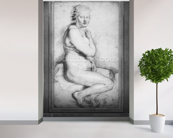Young nude woman, seated, turned to the right (pierre noire, red chalk, white highlights & brown wash on paper) wallpaper mural room setting