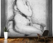 Young nude woman, seated, turned to the right (pierre noire, red chalk, white highlights & brown wash on paper) wallpaper mural kitchen preview
