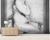 Young nude woman, seated, turned to the right (pierre noire, red chalk, white highlights & brown wash on paper) wallpaper mural living room preview
