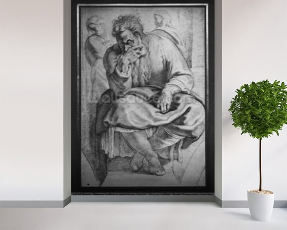 The Prophet Jeremiah, after Michangelo Buonarroti (pierre noire & red chalk on paper) wallpaper mural room setting