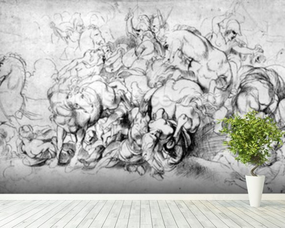 The Battle between the Greeks and the Amazons, c.1602-04 (pen & ink on paper) wall mural room setting