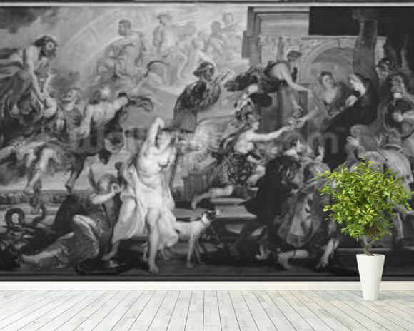 The Apotheosis of Henri IV and the Proclamation of the Regency of Marie de Medici, 1622-25 (oil on canvas) (b/w photo) wall mural room setting