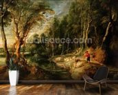 A Shepherd with his Flock in a Woody landscape, c.1615-22 (oil on oak) wallpaper mural kitchen preview