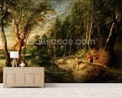 A Shepherd with his Flock in a Woody landscape, c.1615-22 (oil on oak) wallpaper mural living room preview