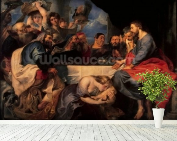 Feast in the house of Simon the Pharisee, c.1620 (oil on canvas) wall mural room setting