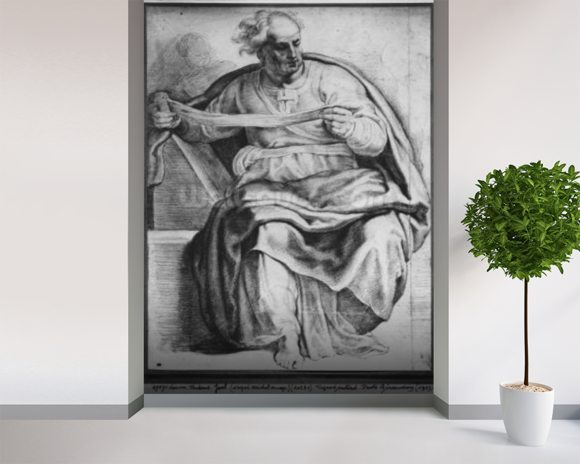 The Prophet Joel, after Michangelo Buonarroti (pierre noire & red chalk on paper) wallpaper mural room setting