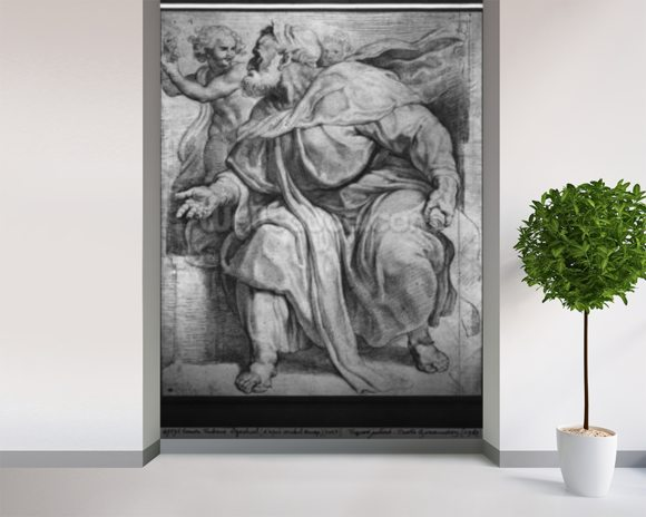 The Prophet Ezekiel, after Michangelo Buonarroti (pierre noire & red chalk on paper) mural wallpaper room setting