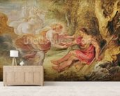 Aurora Abducting Cephalus, 1636 (oil on oak) mural wallpaper living room preview