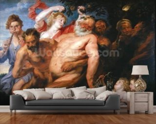 Drunken Silenus Supported by Satyrs, c.1620 (oil on canvas) wallpaper mural