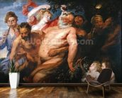 Drunken Silenus Supported by Satyrs, c.1620 (oil on canvas) wallpaper mural kitchen preview