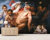 Drunken Silenus Supported by Satyrs, c.1620 (oil on canvas) wallpaper mural living room preview